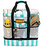 CAMTOP Beach Bag with Cooler Bottom Large Mesh Beach Tote with Zipper and Pockets Family Travel Pool Bag for Beach, Picnic(Turquoise)