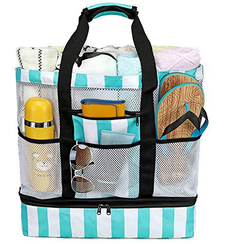 CAMTOP Beach Bag Mesh Beach Tote with Cooler Compartment Oversized Travel Tote Bag with Zipper and Pockets Family Travel Pool Bag for Beach, Picnic(Turquoise)