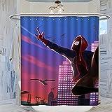 DRAGON VINES Spider-Man Into The Spider-Verse Miles Morales - Cortina de ducha para accesorios modernos de baño, 120 x 160 cm
