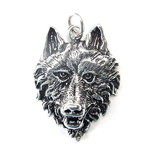 Sterling Silver Large 3d Wolf Head Necklace