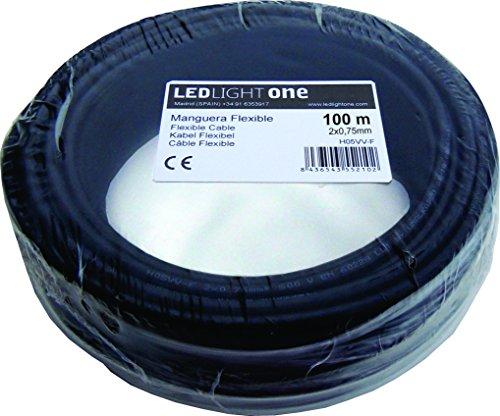 Cable H05VV-F Manguera 2x0,75mm 100m (Negro)