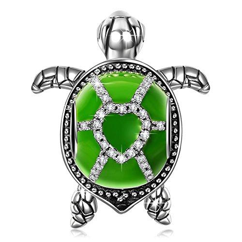 NINAQUEEN Charm für Pandora Charms Armband Grün Schildkröte Geschenk für Frauen Silber 925 Zirkonia Schmuck Damen mit Schmuckkasten