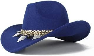 SXQ Neutral Men's Women's Authentic Western Cowboy Hat Winter Outdoor Fascinator Hat Wool Trilby Sombrero Cap Size 56-58CM (Color : Blue, Size : 56-58)
