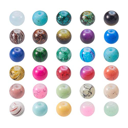 PandaHall Elite 1 Scatola 200 Pezzi 6mm Perline di Vetro Opaco Perline Colorate Perline Rotondo per Bigiotteria Fai da Te, Colore Misto, Foro: 1 mm