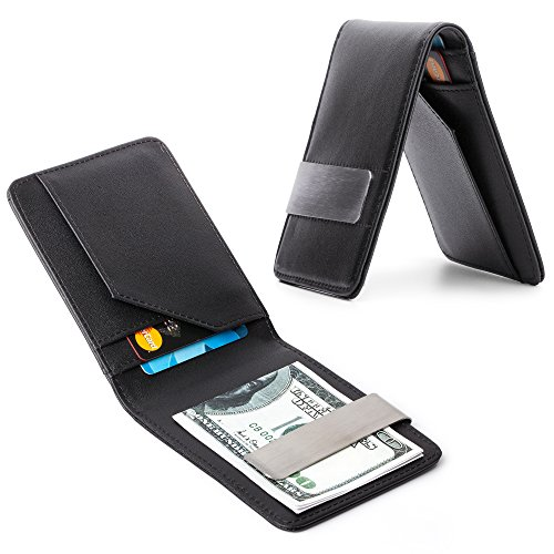 Price comparison product image Money Clip Minimalist Wallet for Men / Black Slim Front Pocket Leather Travel Credit Card and ID Holder / Perfect Billfold to Keep Your Business Portfolio Secure and Organized