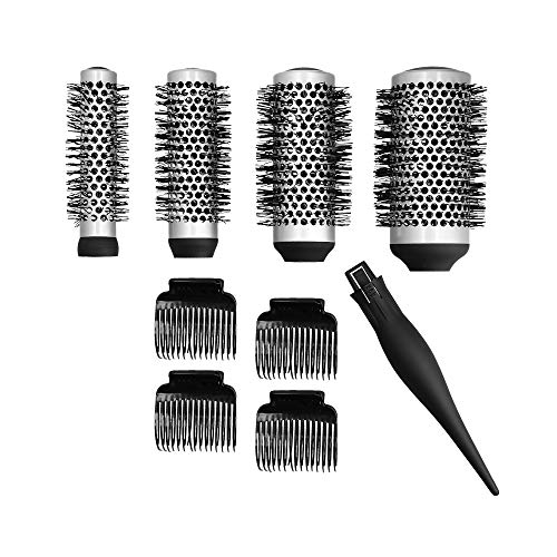 T4B LUSSONI Set 4 pcs Brosses Interchangeables, 4 pcs Pinces Cheveux, 1 pc Queue, 8 Pièces