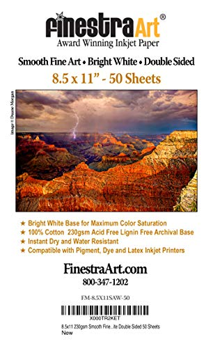 "8.5"" X 11"" Smooth Fine Art Archive Bright White Double Sided Inkjet Paper - 50 Sheets"