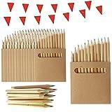 50 Sets de Crayons de Couleur pour Enfants Partituki. Chacun avec 12 Mini Crayons. Avec Guirlande de 10 m. Idéal pour les Sacs de Fête, les Cadeaux de Mariage, et les Écoles