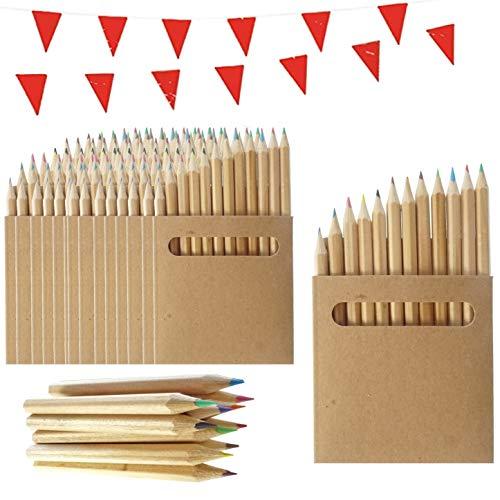 25 Packungen Buntstifte für Kinder Partituki. Jeweils mit 12 Mini-Farbstiftstiften. Beinhaltet 10m Girlande. Ideal für Partytaschen, Schulen, Klassenzimmer und Aktivitätspakete