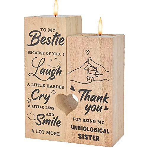 AIBAOBAO Portacandele, Portacandele a forma di cuore, Supporto di legno per candela artigianale con candela sostituibile per mamma, amici, giorno di compleanno, decorazione della casa (To My Bestie)