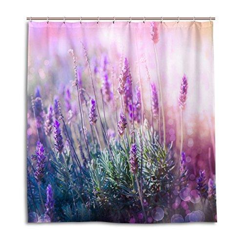coosun Lavendel Blumen Polyester-Bereich Duschvorhang Set-wasserabweisend Badezimmer Showe Vorhang Set Home Dekoration mit Haken, 66x 72L Zoll