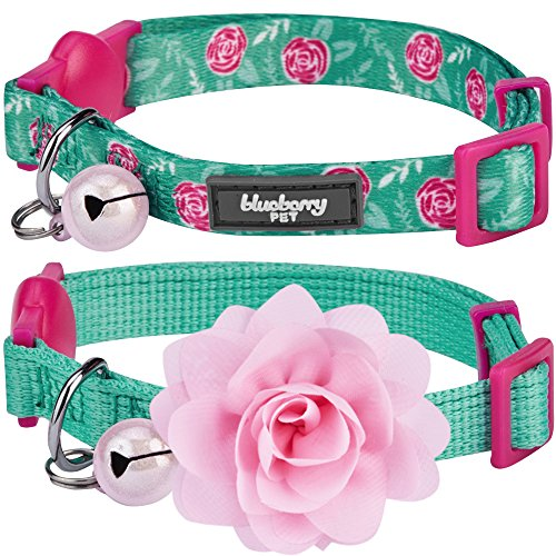 """Blueberry Pet Pack of 2 Cat Collars, The Power of All in One Relaxing Jungle Green Adjustable Breakaway Cat Collar for Girl & Boy with Bell & Detachable Flower, Neck 9""""-13"""""""