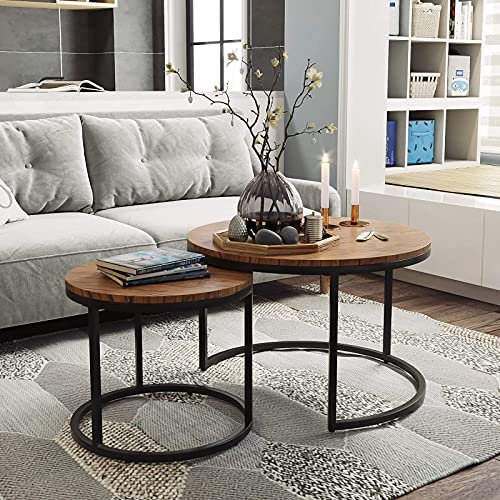 Moiitee Juego de 2 mesas de café redondas de nido modernas mesas de café industriales de anidación, mesita de noche con soporte de metal para sala de estar