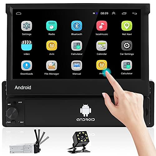 Hikity Android 1 DIN Radio de Coche GPS Navigator Bluetooth Autoradio 7 Pulgadas Pantalla Táctil Plegable Estéreo de Coche con FM WiFi Enlace Espejo + Cámara Visión Trasera