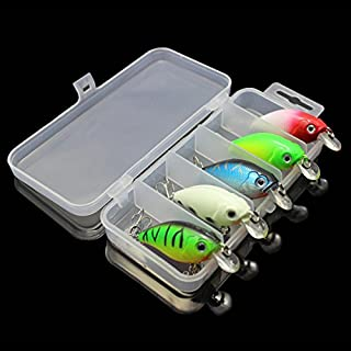 OriGlam 【Happy Shopping Day】 5 Colors 7.5cm Minnow CrankBaits Fishing Lures, Small Fat Simulation Bait Fishing Gear, Topwater Floating Lure, Life-Like Swimming Swimbait, Bass Bait Hard Fishing Lure