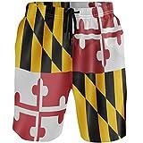 Kaariok American Flag of Maryland US State Men's Swim Trunks...