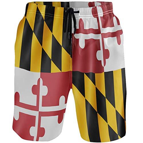 Kaariok American Flag of Maryland US State Men's Swim Trunks Quick Dry Beach Shorts