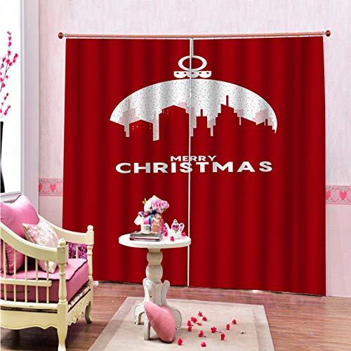 MMHJS Cortina De Navidad 3D Poliéster Engrosado Impermeable Cortina De Aislamiento Térmico Dormitorio De Hotel Sala De Estar Balcón Cortina Sombreado Vertical Opaca(2 Piezas)