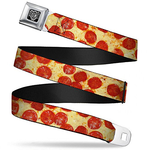 Buckle-Down Unisex-Adult's Seatbelt Belt Pizza Regular, Pepperoni Vivid, 1.5' Wide-24-38 Inches