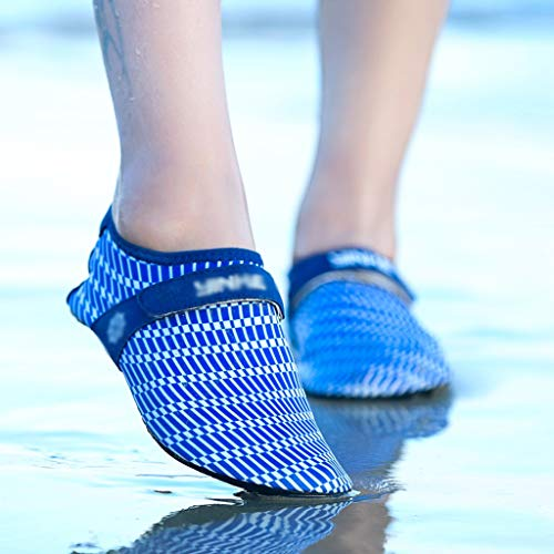Hwqsw Hombres Mujeres Quick-Dry Shoes Shoes de Agua Zapatos Agua Respirable Ascendente Antidisco Antideslizante Deportes al Aire Libre Lavegestinales de Playa (Color : Blue, Size : 35)