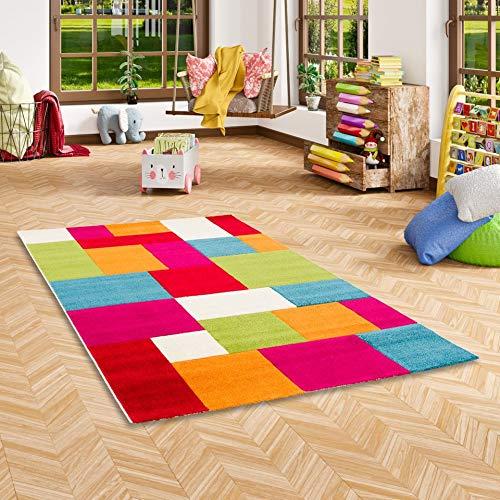 Savona Kinder Teppich Kids Karo Bunt Design Multicolour in 5 Größen
