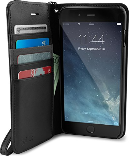 Smartish iPhone 8 Plus/ 7 Plus Wallet Case - Keeper of The Things - Folio Wallet Synthetic Leather Portfolio Flip Credit Card Cover with Kickstand (Silk) - Black Tie Affair