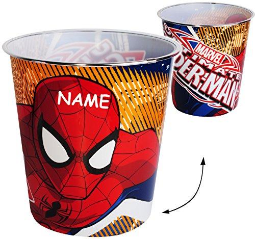 Papierkorb / Behälter -  ultimative Spider-Man  - incl. Name - 8 Liter - aus Kunststoff - Spielzeugkorb / Popcornschüssel / Mülleimer Eimer - auch als Blume..