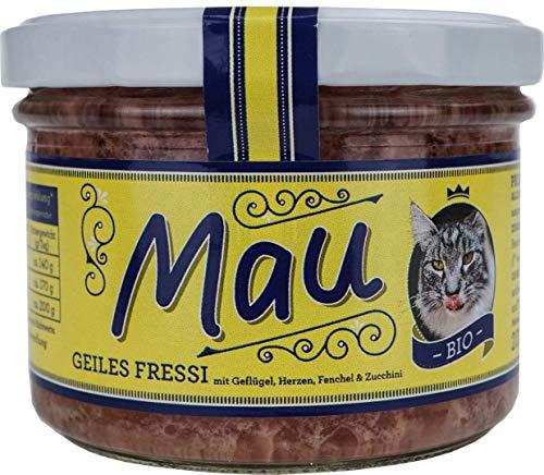Mau Bio Katzenfutter Geiles Fressi 2X 200g mit Geflügel, Hähnchen, Fenchel und Zucchini im Wieder verschließbarem Glas