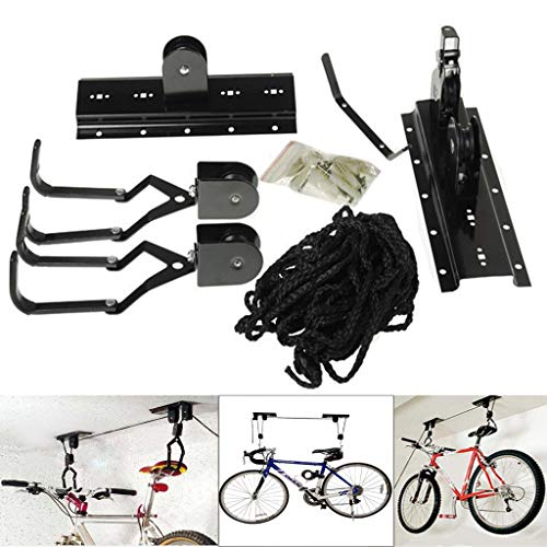 Bike Lift Hoist Heavy Duty Ceiling Mounted Storage Garage Hanger Pulley Rack Great Working Tools Hoists,Hanging Ladder Lifts-Mount Capacity Hooks and Pulleys Convenient Bicycle or Hangers for Garage,