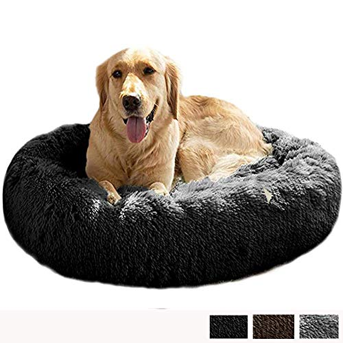 Calming Anxiety Cuddler Dog Bed for Medium Extra Large Jumbo 2 Older Dogs Orthopedic XL Plush Comfy Cushion Sleep Bag XXL Labrador Wicker Washable Faux Fur Cave brown ZZAY