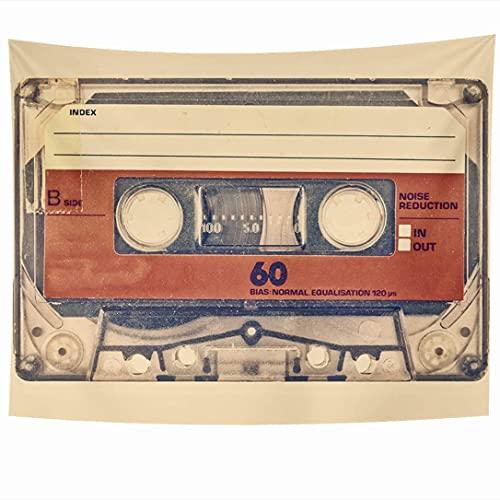 Tapices para colgar en la pared Audio Retro Space Play Estilo Música antigua Objeto de casete de sonido analógico compacto Vintage Pale Record Tapiz Manta de pared Decoración del hogar Sala de estar D