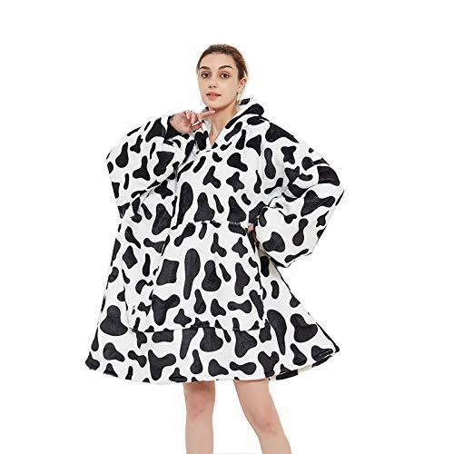 COZYBEDCOVER Sudadera con capucha Sherpa para mujer, muy suave, con bolsillo grande, para mujeres, jóvenes, niñas, adolescentes, niños negro blanco XL