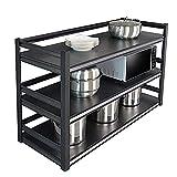 Soporte para Microondas, estante para microondas de acero al carbono de 3 niveles de 40 cm de profundidad, estante para especias de cocina ajustable, independiente y resistente/Negro / 60cm