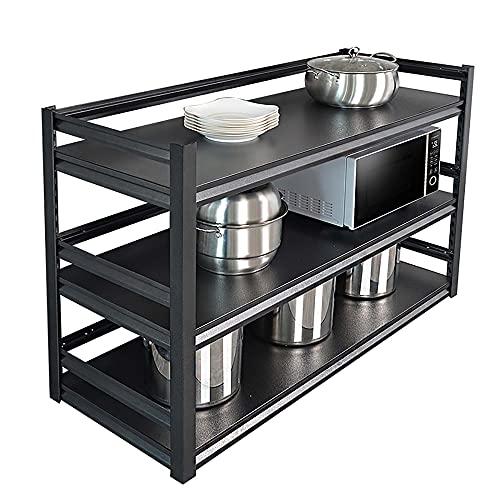 Soporte para Microondas, 40 cm de profundidad, estanterías de 3 niveles, estantería multifunción para horno con soporte de carga de 100 kg/Negro / 90cm