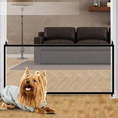 Magic Gate huisdier, magische poort voor honden, draagbare opvouwbare veiligheid trap deur huisdier isolatie net kind veiligheid deur (zwart)