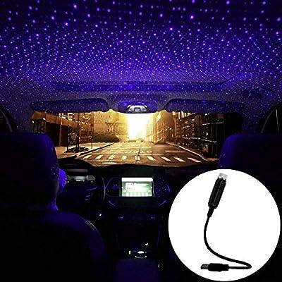 ORASK Car USB Atmosphere Ambient Star Projector Night Light Car Interior LED Decorative Lights Adjustable Romantic Car Roof Light Blue Purple Color