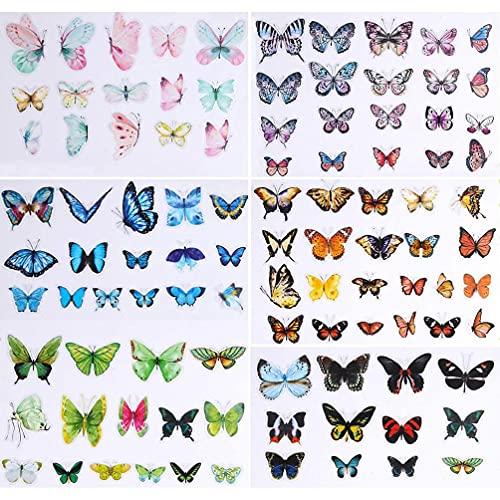 EATAN 100 verschiedene süße schöne Schmetterling-Aufkleber aus PVC, wasserdicht, für Laptop, Scrapbook, Tagesplaner und Bastelarbeiten, Wasserflasche, Gepäck,...