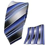TigerTie schmale Krawatte + Einstecktuch blau hellblau silber anthrazit grau gestreift - Tuch