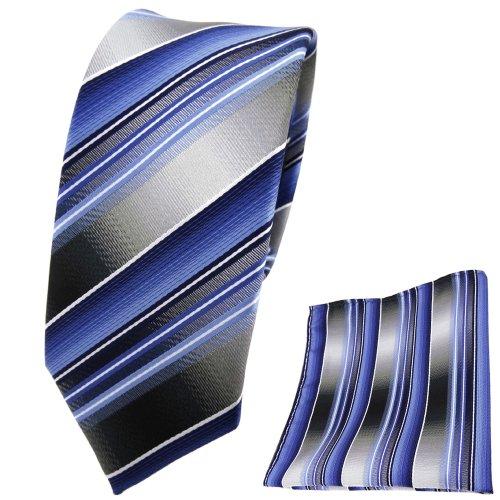 TigerTie TigerTie schmale Krawatte + Einstecktuch blau hellblau silber anthrazit grau gestreift - Tuch