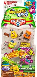 New! Grossery Gang Bug Strike 4 Pack with Surprise Grossery in Army Crate! (Styles Vary)