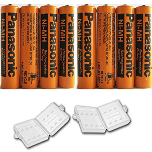 8 Pack Panasonic NiMH AAA Rechargeable Battery for Cordless Phones with 2 Battery Cover Cases (Bulk Packaging Non-Retail Packaging)