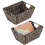 mDesign Juego de 2 cestas trenzadas con asas – Organizador de estantes para dormitorio, salón, baño o pasillo – Cestas organizadoras de jacinto de agua para accesorios del hogar – negro
