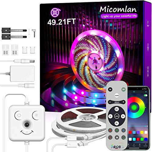 "Micomlan Led Strip Lights 49.2 ft, Music Sync Color Changing RGB LED Lights with Remote,""Smile Face""Controller and Bluetooth APP Controlled Strip Lights for Bedroom Home Decoration"