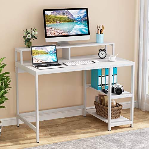 Tribesigns Escritorio de computadora con soporte para monitor, moderno escritorio de estudio, estación de trabajo grande, mesa de juegos con 2 estantes para oficina en casa