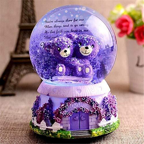 WJUKC Caja de música con forma de bola de nieve de cristal para amantes de la boda de los amantes de la boda