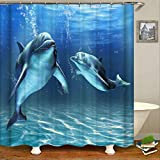 N/X Cortina de ducha Cortina de baño océano 180 x 180 cm impermeable cuarto de baño hogar lavable tela cortina de baño cortina de baño 12 ganchos 150 x 180 cm CX398