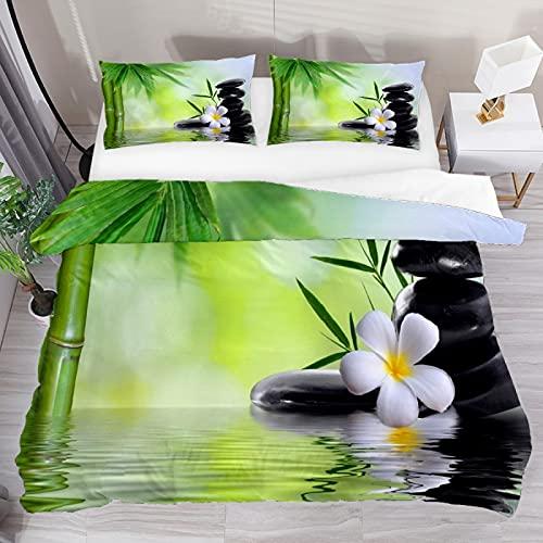 Juego de funda de edredón, juego de cama king de 3 piezas, spa Zen Stones de bambú con fundas de almohada, decoración de habitación para niños, niñas, adolescentes y adultos