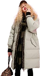 Women's Winter Coat Pink Hooded Coat Light Green Long Outdoor Coat Windproof Jacket Thick Warm New (Color : White, Size : M)