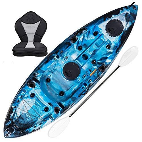 Koastal Kayak DE Pesca ECONÓMICO. Mod Ares 275x80x40 cm. Azul Camuflaje. Incluye Asiento Acolchado, 2 tambuchos y Remo de Aluminio