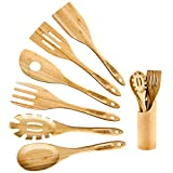GEEKHOM Bamboo Cooking Utensils with Holder,7 Pieces Extra Large Wooden Kitchen Utensils Set, Heat...